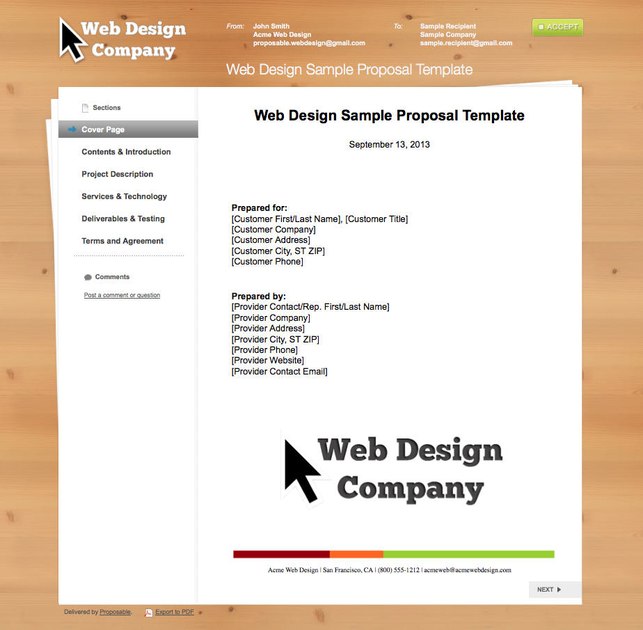 Best web design sample template image