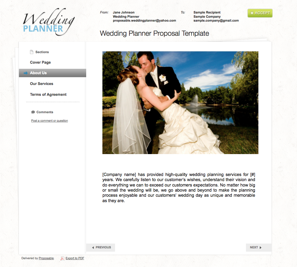 Wedding Planner Sample Template
