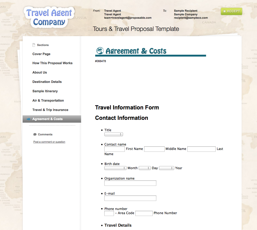 travel agent itinerary sample template